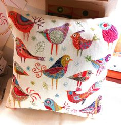 Nancy Nicholoson - Bird Dance Cushion made up into a cushion 40 x 40 cm square