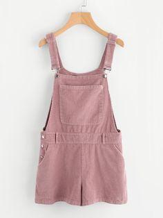 33666a1fd32 Shop Bib Pocket Front Cord Overall Shorts online. SheIn offers Bib Pocket  Front Cord Overall