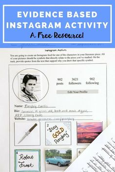 This great Instagram Activity is perfect to use in your elementary or middle school (or even high school!) classroom to help student further understand characterization, symbols, and evidence based writing. Hits multiple Common Core Standards in a fun way - and it's a free resource!