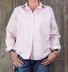 Lands End size 18 Blouse Pink Black No Iron Supima Womens Career Casual top  #LandsEnd #Blouse #Casual