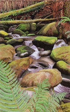 """Tumbling Through Mossy Rocks"",  6.5"" x 9.5"", hand embroidery by Alison Holt. It looks more like a painting than embroidery and isn't it beautiful?This site is well worth a visit just to see more work of this very talented textile artist. Many of the embroideries are for sale."