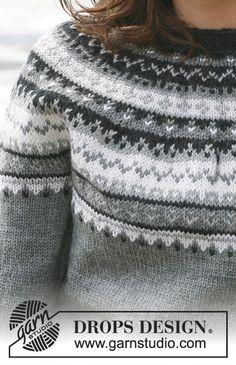 Cold Steel / DROPS - Free knitting patterns by DROPS Design, Free knitting instructions. Drops Design, Sweater Knitting Patterns, Knit Patterns, Fair Isle Knitting, Free Knitting, Icelandic Sweaters, Fair Isle Pattern, Jacket Pattern, Crochet Clothes