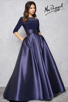 Midnight Blue Couture Dress with Sleeves