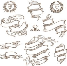 Retro hand drawn ribbon with ornaments vector 04 - Vector Label free obtain Vector Ribbon Obtain Graffiti Lettering, Graffiti Art, Scroll Tattoos, How To Draw Ribbon, Tattoo Banner, Banner Drawing, Ribbon Banner, Frame Clipart, Dashboard Design