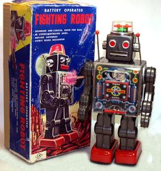 Horikawa Fighting Robot Tin Toy Japan Battery Operated with Box Vintage Robots, Retro Robot, Retro Toys, Vintage Toys, 1970s Toys, Fighting Robots, Space Toys, Japanese Toys, Character Sketches