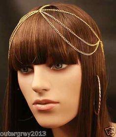 New Handmade Women Boho Head Chain Hair Jewelry Black Gold Silver Headpiece | eBay