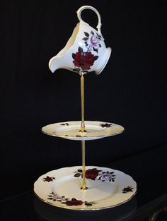 Mad hatter style cake stand, Vintage fine china 3 tier jewellery stand with a jug topper. Great gift, for tea parties, dressing a room, - pinned by pin4etsy.com