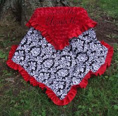 """Personalized Baby Blanket Damask Red Minky Swirl with Satin Ruffle  """"Custom Made"""". $54.99, via Etsy."""