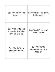 One can work on speaking in different social situations. Depending on the punctuation, it helps determine what tone one needs to use. Can be used in multiple subjects (ex. Speech Activities, Language Activities, Therapy Activities, Voice Therapy, Speech Therapy, Reading Fluency, Reading Strategies, Speech Language Pathology, Speech And Language
