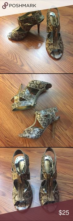Bcbg Snake Print Cut Out Sandal Heels Brand new, never worn but threw out the box. By bcbg girls. Size 6.5, true to size. 4 inch heels. No trades ✅20% off two items or more ✅Reasonable offers accepted 🚫No trades BCBG Shoes Heels