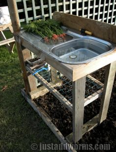 Garden Sink that require no plumbing. There's always sinks at the Habitat Restore now I'm going to go price them Garden Sink that require no plumbing. There's always sinks at the Habitat Restore now I'm going to go price them Outdoor Projects, Garden Projects, Irrigation Pipe, Outdoor Sinks, Outdoor Garden Sink, Outdoor Countertop, Outdoor Benches, Garden Benches, Rooftop Garden