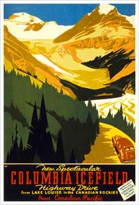 Lake Louise, Alberta COLUMBIA ICEFIELD (c.1933) Vintage Canadian Pacific Travel Poster Reprint -Available at www.sportsposterwarehouse.com