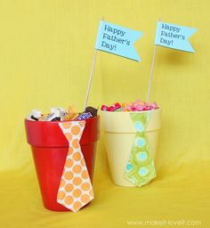 Fathers day craft. Super easy and cute. Just grab a couple of flower pots, make a tie, and fill with dad's favorite candy!