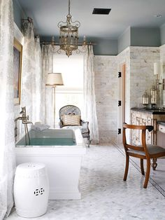 ceiling color down walls helping to shorten ceiling height, love subway stone tile with paint color