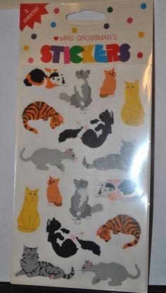 VTG Mrs. Grossman's Stickers CATS NIB 3 Sheets Tabby Calico Tuxedo 48 stickers #MrsGrossmans