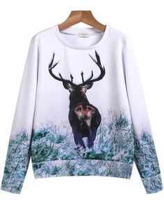 White Long Sleeve Deer Print Sweatshirt pictures