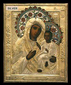 "Russian Orthodox Icon ""Virgin of Tichvin"" SILVER 84 ENAMEL 1892"
