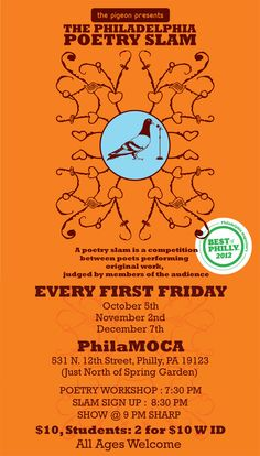 Philadelphia Poetry Slam...every First Friday at #PhilaMOCA.  #SEPTA Routes: 4, 16, 23, 43, 61, Broad Street Line.