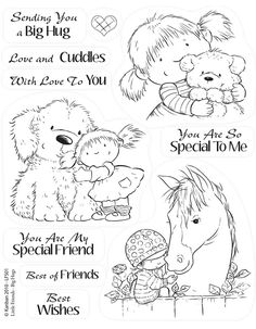 Huge selection of card craft supplies Kanban clear rubber stamps - Little Friends - Big Hugs Card Sentiments, Penny Black, Coloring Book Pages, Cute Images, Copics, Digital Stamps, Kids Cards, Colorful Pictures, Clear Stamps