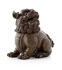 BRONZE FU LION CENSER LATE QING DYNASTY modelled as the seated beast with it head turned to one side 18cm high