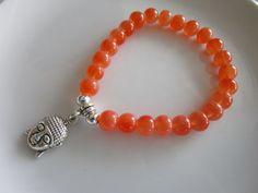 Orange opaque glass beaded elastic bracelet by LeeliaDesigns