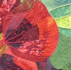 "close up photo: ""Alaska Nasturtium"" by Janet Rice-Bredin, quilted by Catherine Sloan. Judge's Choice Award, 2014 National Juried Show 2014 ~ Canadian Quilters' Association"