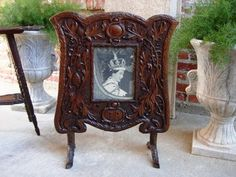 eBay and Victorian Fireplace Screen | Antique Carved Black Forest Fire Screen Stand with Picture of Queen ...