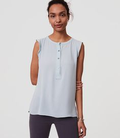 Image of Petite Ruffle Henley Shell color Ether Blue