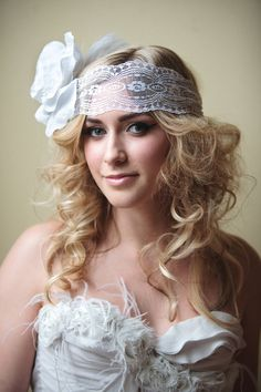 The Oliviavintage inspired lace headband with flower by austie, $185.00