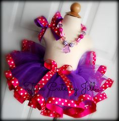 Sewn Purple Tutu with Fuschia Polka Dot Ribbon Trim. Tutu Cute By Jill on Etsy
