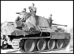 Panther tank with it's crew keeping an eye on their surroundings.