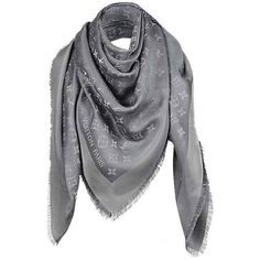 Preowned Monogram Shine M75120 Charcoal Grey Scarf (22.720 RUB) ❤ liked on Polyvore featuring accessories, scarves, grey, monogram shawl, silk shawl, gray shawl, monogrammed scarves and silk scarves