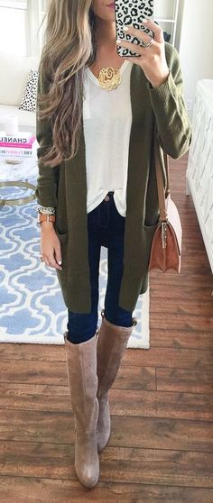 Gorgeous olive green long cardigan. Tall nude knee boots.  Stitch fix fall 2016. Stitch fix fashion trends.