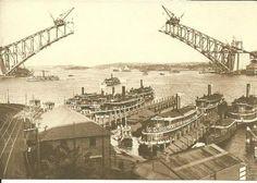Sydney Harbour Bridge not yet complete when this photo of Sydney Harbour ferries was taken. (Photo undated) possibly v Harbor Bridge, Sydney Harbour Bridge, Old Pictures, Old Photos, Sydney Ferries, Sydney New South Wales, Sydney City, Over The Bridge, Arch Bridge