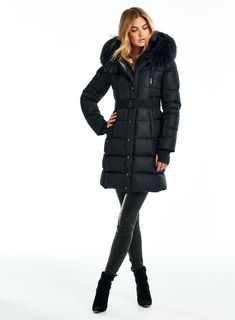 Black Puffer Coat, Black Winter Coat, Winter Coats, Down Parka, Down Coat, Jamie Erdahl, Leather Jacket Outfits, Leather Pants, Coats For Women