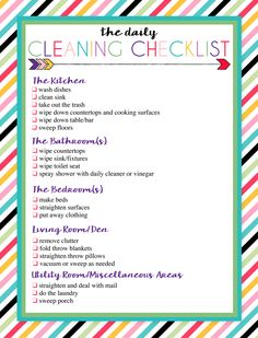 Free Printable Daily and Weekly Cleaning Lists   Three Designs of Each   Instant Downloads