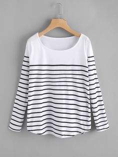 Shop Striped Loose T-shirt online. SheIn offers Striped Loose T-shirt & more to fit your fashionable needs. Girls Fashion Clothes, Fashion Outfits, Girl Fashion, Womens Fashion, Ladies Fashion, Casual Hijab Outfit, Casual Outfits, Cute Outfits, Style Casual