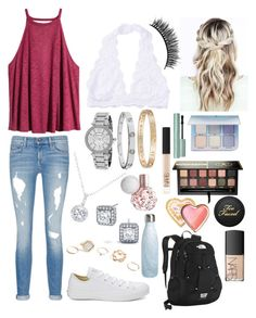 """School 46"" by ella-goodness on Polyvore featuring H&M, rag & bone/JEAN, Converse, EWA, Anastasia Beverly Hills, Michael Kors, Cartier, GUESS, NARS Cosmetics and S'well"