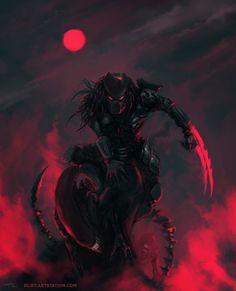 Wolf Predator, Predator Movie, Predator Alien, Red And Black Wallpaper, Alien Covenant, Aliens Movie, Xenomorph, Monster Art, Geek Art