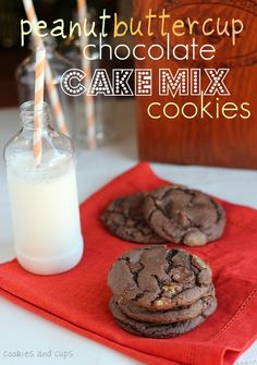 Peanut Butter Cup Chocolate Cake Mix Cookies - Cookies and Cups