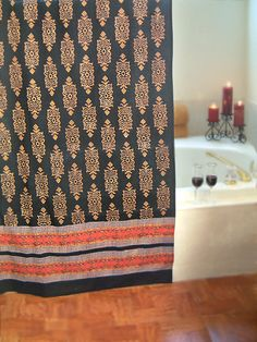 Kilim Noir ~ Black Gold Indian Tapestry Cotton Shower Curtain from SaffronMarigold.com - $59.99
