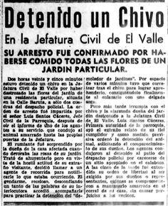 Detenido un chivo en la jefatura civil de El Valle. Publicado el 14 de agosto de 1948.