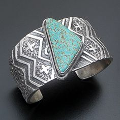 Lee Begay (Navajo) - Turquoise & Sandcast Sterling Silver Blanket Pattern Cuff Bracelet #41074 $925.00