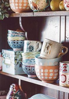 Mismatched Mugs & Bowls at Anthropologie