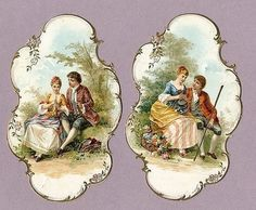 2 Victorian Die Cuts Romantic Couples in A Garden Flowers Decoupage Vintage, Decoupage Paper, Vintage Diy, Vintage Labels, Vintage Ephemera, Vintage Cards, Vintage Paper, Vintage Postcards, Vintage Pictures
