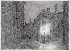 Wagner , Nocturnal in Venice - Paul Flora , pen and ink and crayon Paul Flora, Black And White Landscape, Creative Illustration, Cool Drawings, Abstract, Painting, Illustrations, Artists, Dibujo