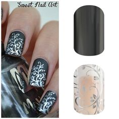Get the same look with Jamberry nail wraps! Lasts longer than a regular manicure up to 2 weeks and a lot cheaper. This combination of Silver Foral layered over Tungsten. Contact me at themagicofjams@yahoo.com