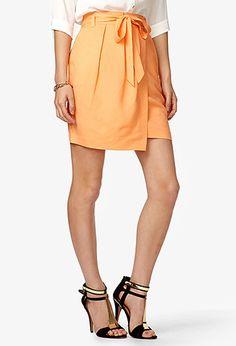 Linen Blend Wrap Around Skirt   FOREVER21 - 2037180071