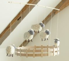 Pottery Barn Baby diy-for-home-and-family Pottery Barn Kids, Sheep Mobile, Mobile Mobile, Felt Mobile, Sheep Crafts, Counting Sheep, Nursery Neutral, Baby Love, Plushies