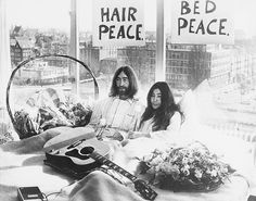 John Lennon & Yoko Ono at Their Bed-In For Peace via @WhoWhatWear